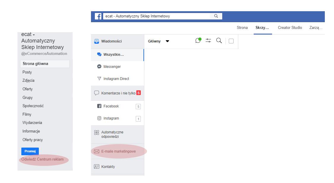wysyłka maili przez facebooka